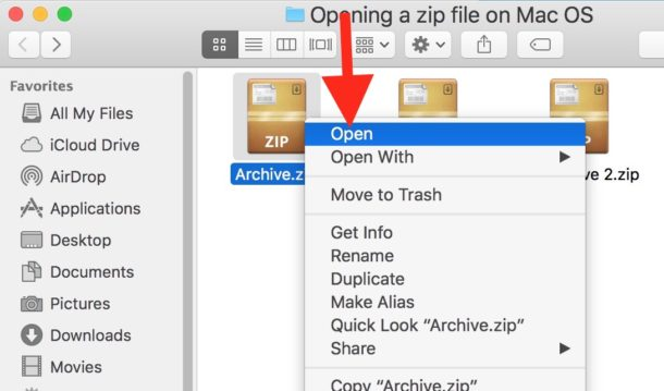 Right Click and choose Open on a Zip archive to open it on Mac OS