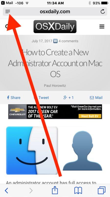 Open Reader mode on iOS Safari
