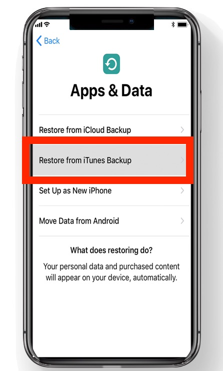 Choose Restore from iTunes Backup
