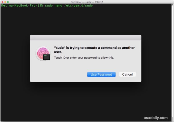 sudo with Touch ID on a Mac