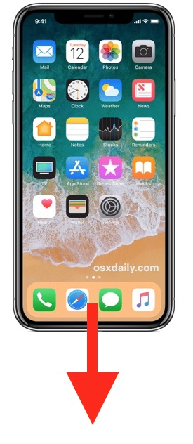 Swipe down from bottom of screen to Reachability iPhone X