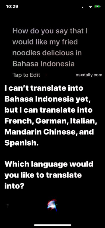 Translating languages with Siri works for some but not all major languages yet