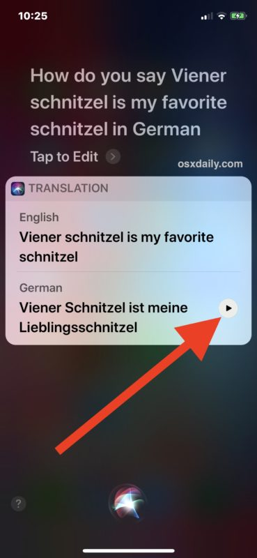 Replay the language translation with Siri in iOS