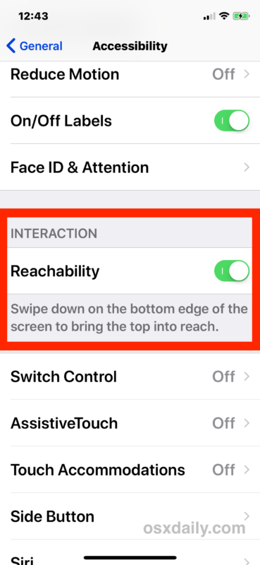 Enable Reachability on iPhone X
