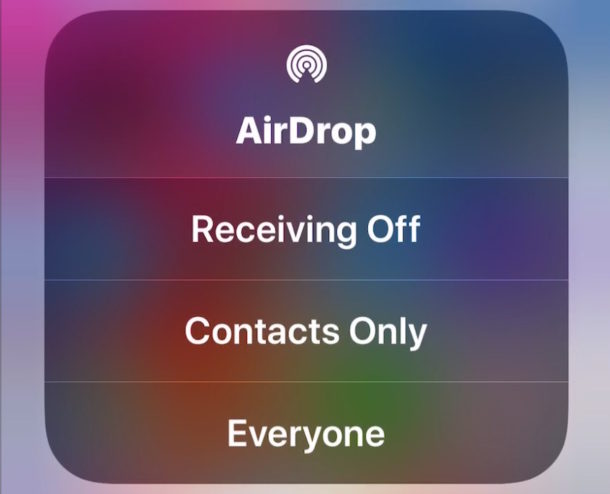 Using AirDrop in iOS 11 Control Center