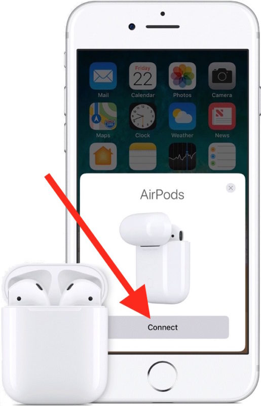 Connect to AirPods on iPhone to setup with device