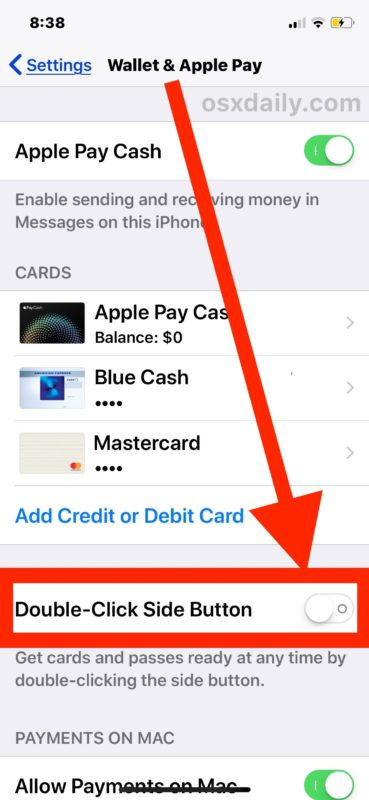 Turn Off Apple Pay Side Button Access on iPhone X
