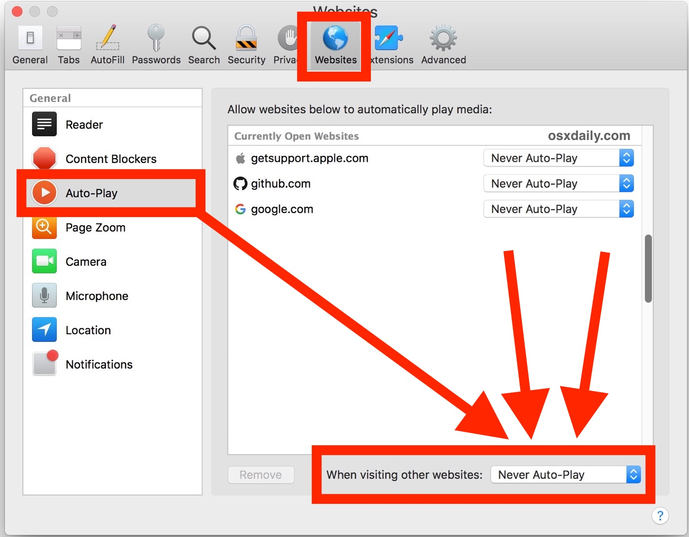 Disabling Auto Play in Safari for Mac for all websites