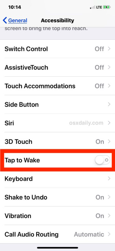 Disable Tap to Wake on iPhone