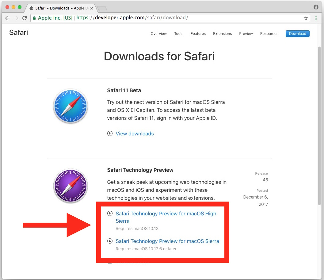 Where to download Safari Technology Preview