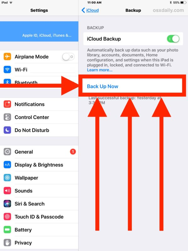 Tap Back Up Now to backup iOS to iCloud right away