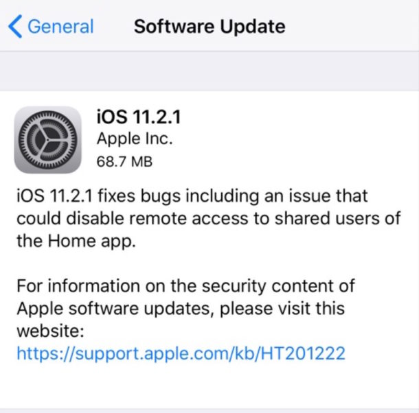 iOS 11.2.1 software update