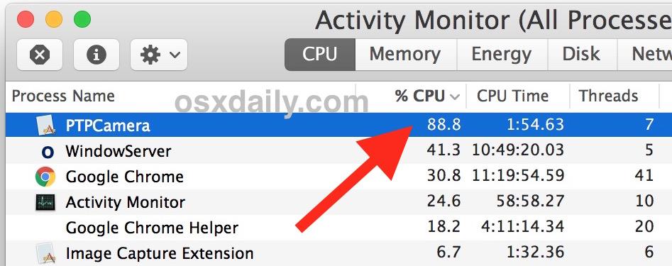 PTPCamera Process Gone Wild on Mac hogging CPU