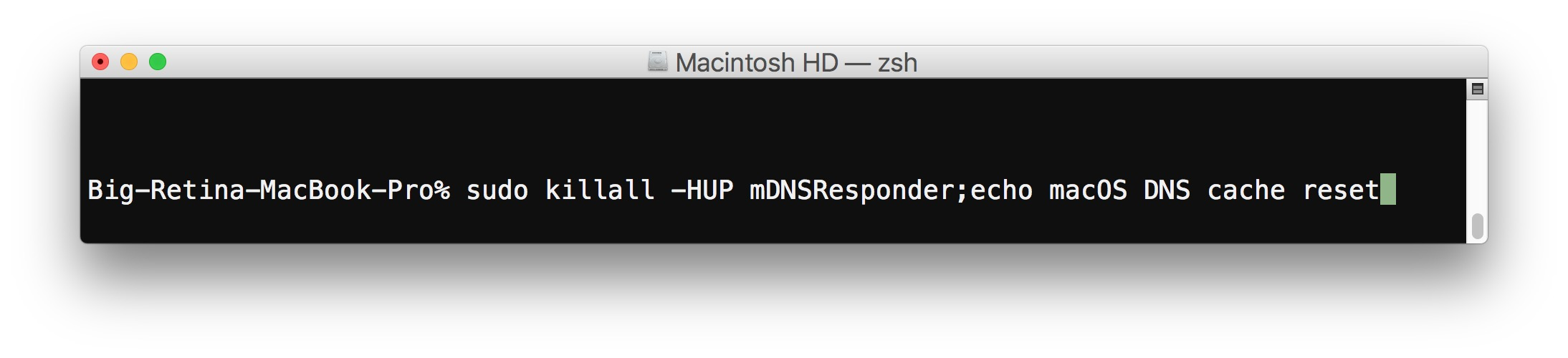 Reset DNS cache in macOS High Sierra