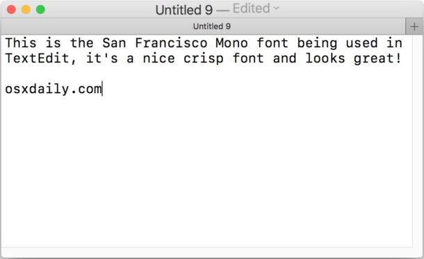 SF Mono font in Mac OS