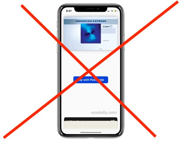 Turn Off Apple Pay Side Button Access on iPhone X to stop Apple Pay showing up on lock screen