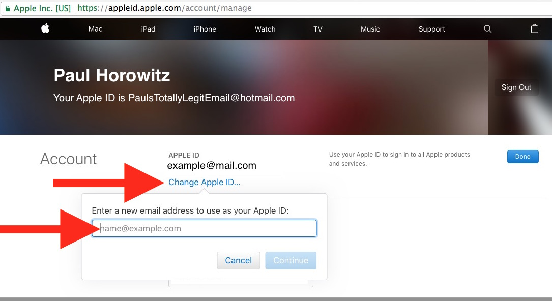 Changing an Apple ID email address