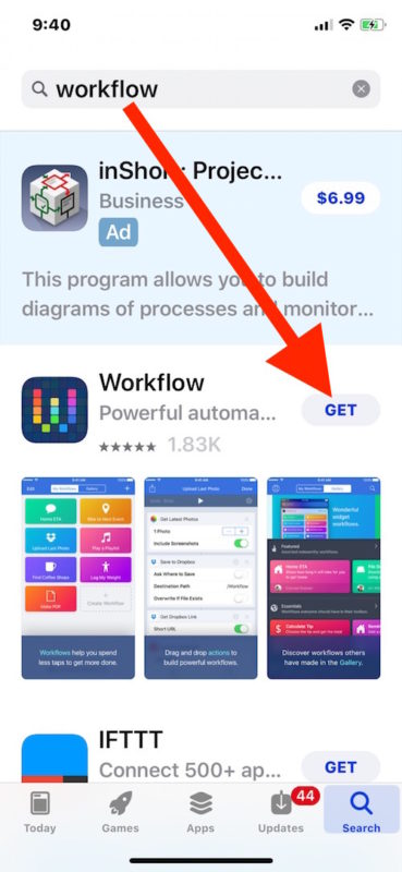 Get WOrkflow for iPhone for free