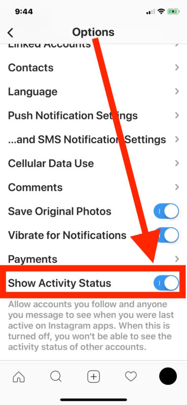 Disable Instagram activity status online status broadcasting
