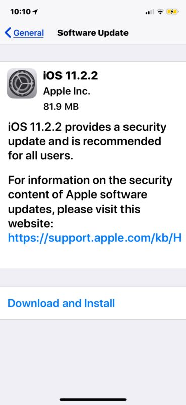 iOS 11.2.2 software update download