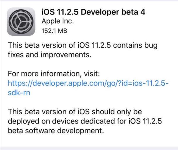 iOS 11.2.5 beta 4