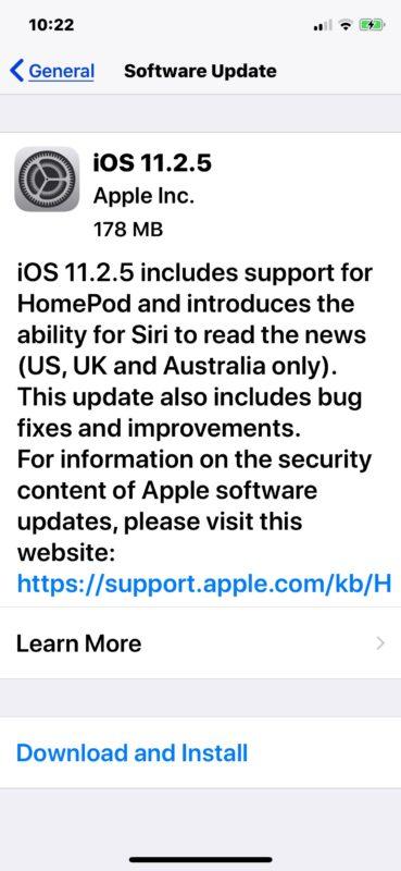 iOS 11.2.5 update download