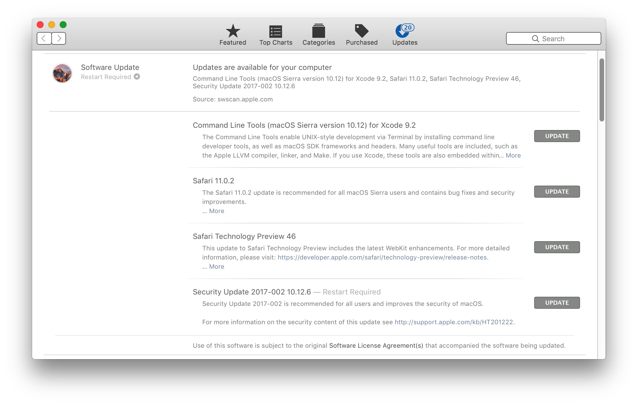 MacOS Software Updates to Safari 11.0.2 available for security