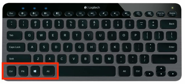 A PC keyboard and modifier key layout