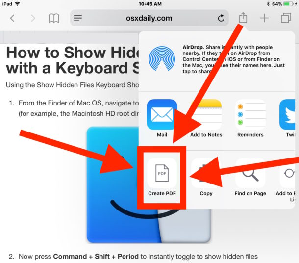 Save a webpage as PDF on iOS by choosing Create PDF