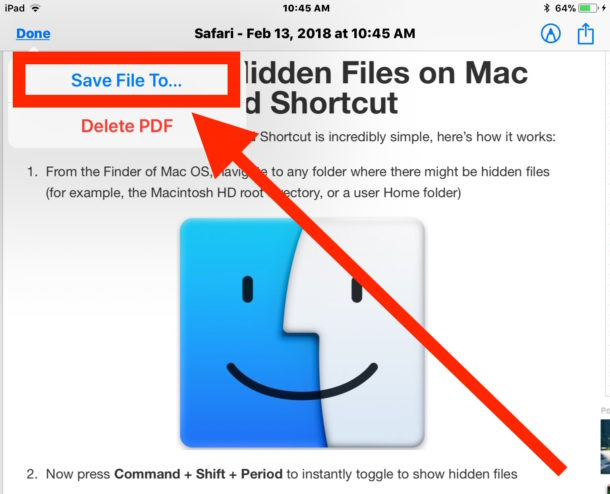 Save a webpage as PDF on iOS