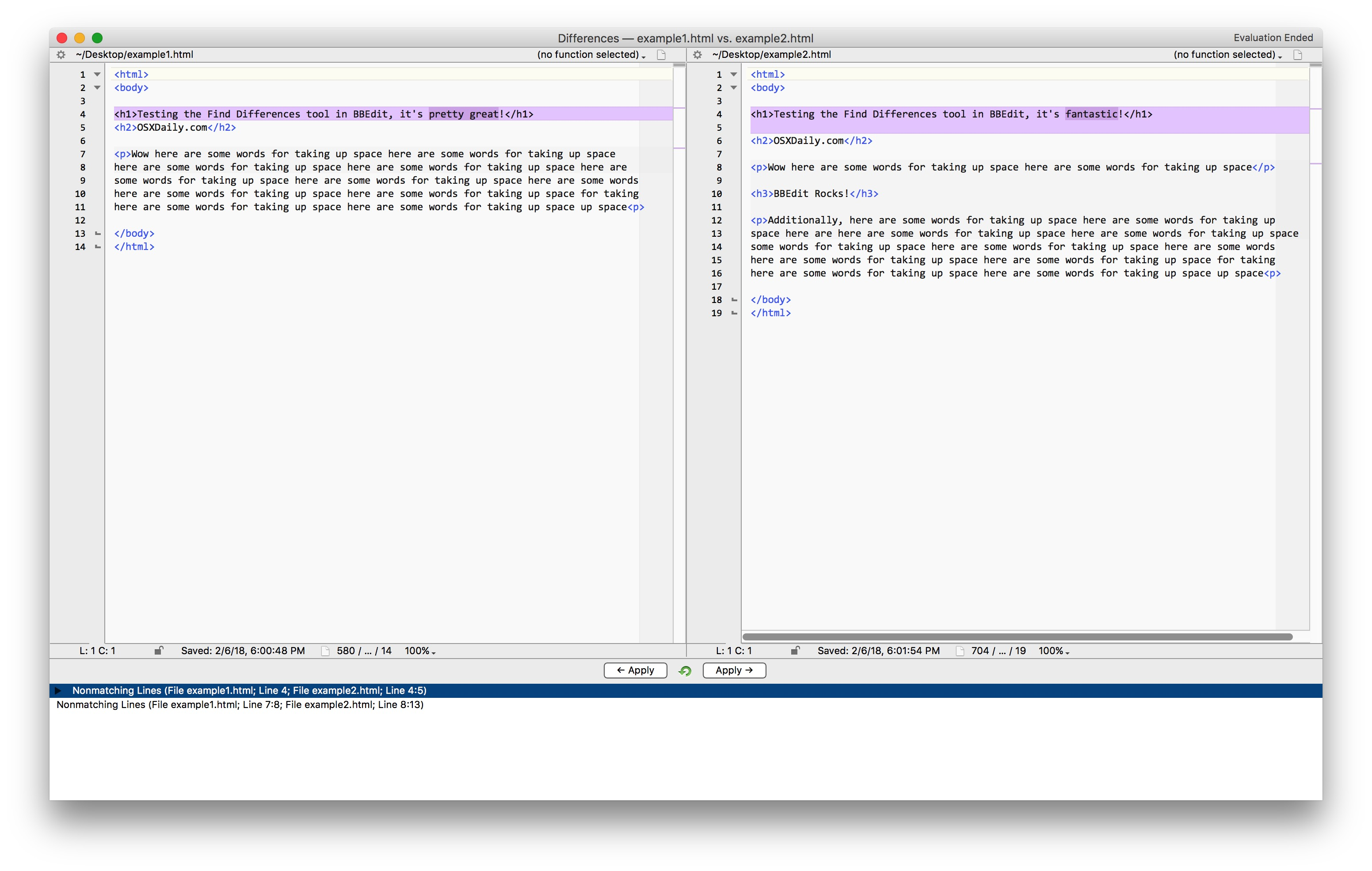 Find file differences with Bbedit on Mac
