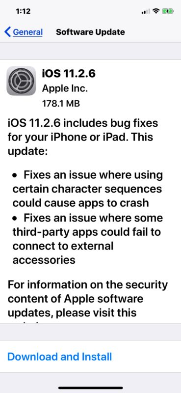 iOS 11.2.6 software update