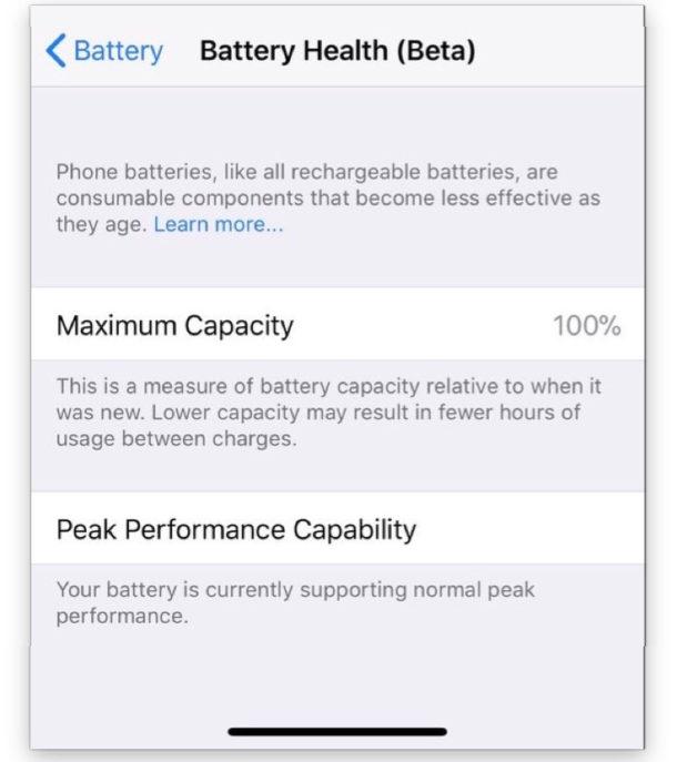 iOS battery health settings
