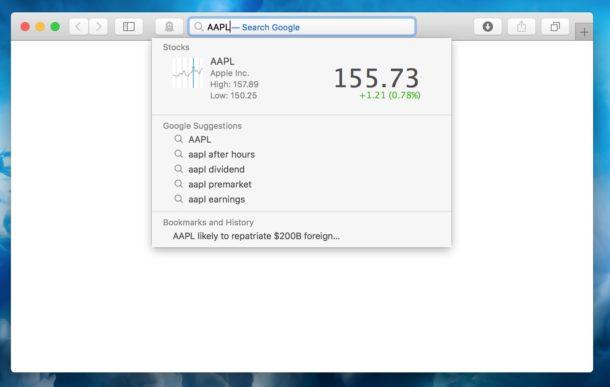 Get stock price quickly in Safari address bar of Mac