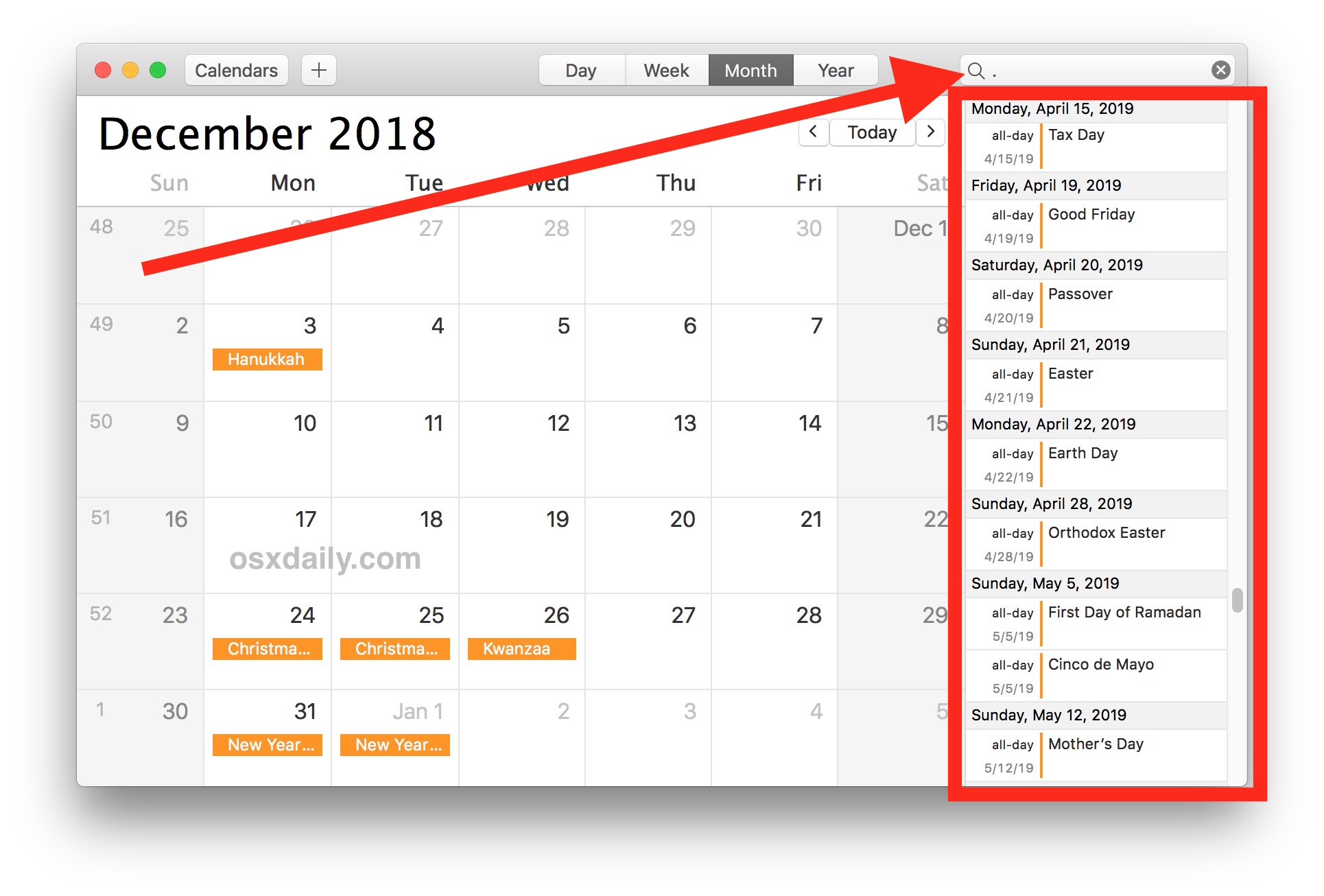 Show a Calendar List View on Mac