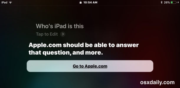 Siri thinks iPad owner is on an Apple website so you must ask about iPhone instead