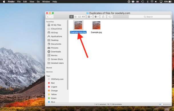 A duplicate file appears in the same directory on Mac with a copy name suffix