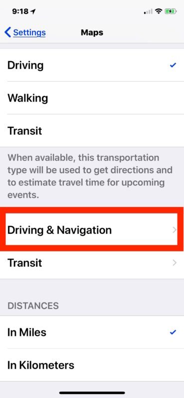 Open the Navigation settings in iOS