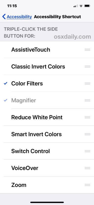 Select your Accessibility Shortcut settings for iPhone or iPad