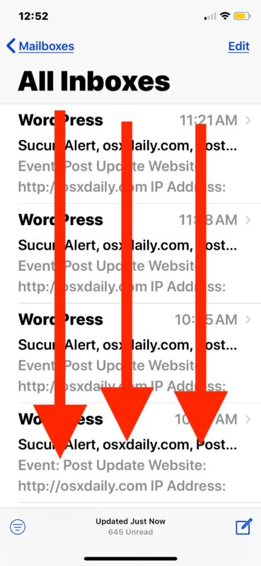 Swipe down to find the Search feature in Mail for iOS
