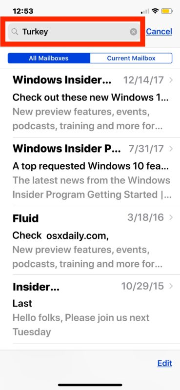 Find searched emails on iPhone and iPad through search results of Mail app
