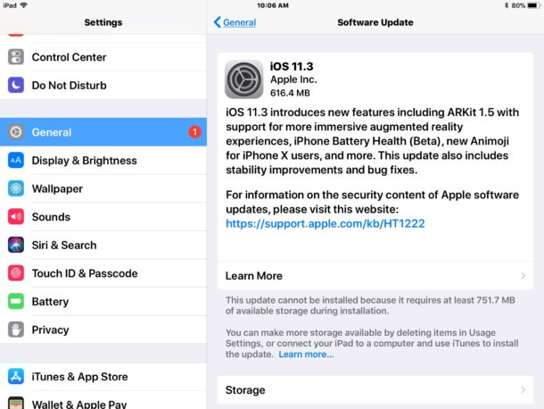 iOS 11.3 software update available to download
