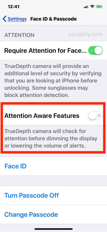 Disable Attention Aware Features on iPhone X to stop quiet ringer volume sound