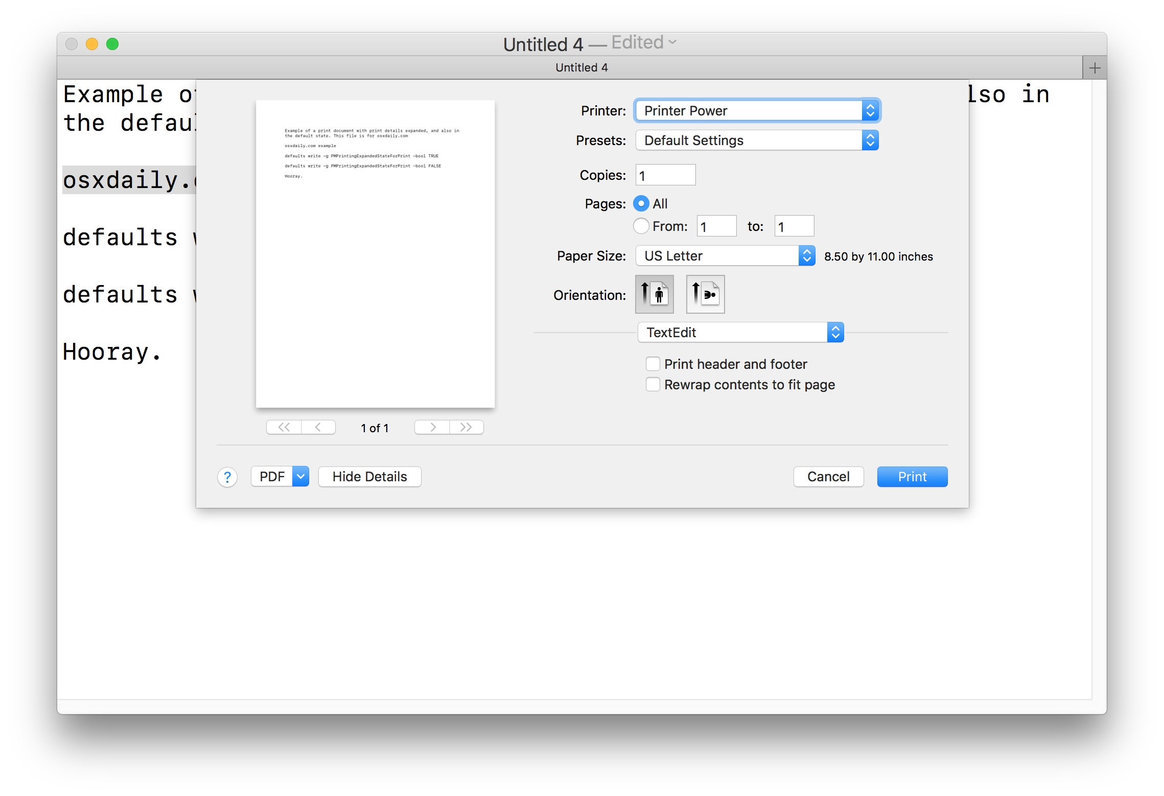 How to show the expanded Print dialog always in Mac OS