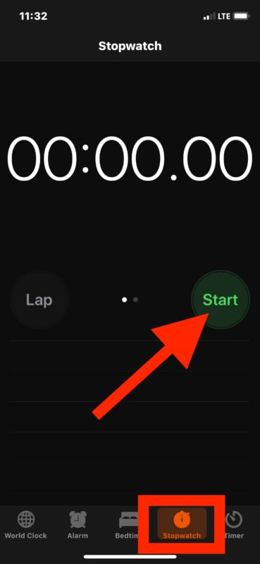 How to access and use Stopwatch on iOS