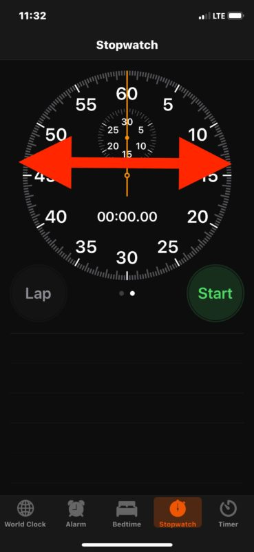 Access different Stopwatch appearances on iOS