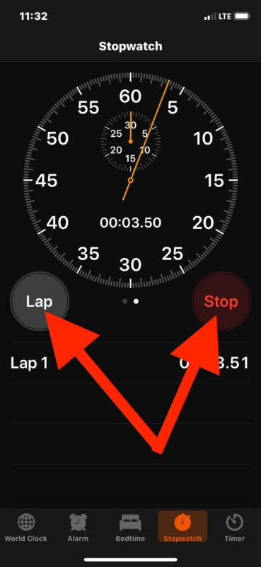 How to mark laps in Stopwatch on iPhone