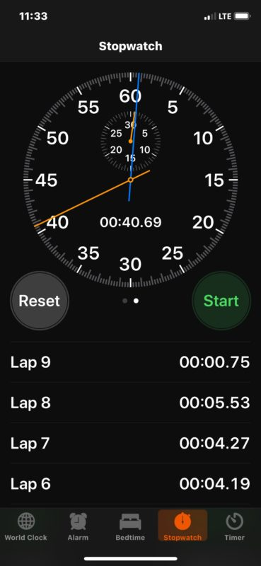 Notating laps in iOS Stopwatch
