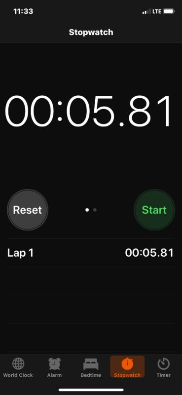The default Stopwatch appearance