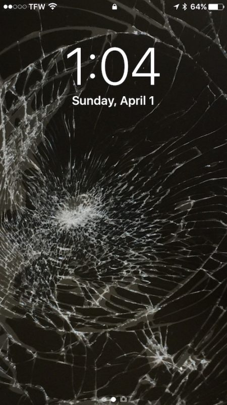 The broken screen glass wallpaper prank for iPhone and iPad